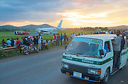 On Wednesday 18 December 2013, around 14:15 local time, a Boeing 767 from Ethiopian Airlines had to make an emergency landing on Arusha Airport, a local airport normally used for light airplanes. According to some sources, the flight had Kilimanjaro Airport as destination, but could not land there. The pilot had a choice to either fly to Mwanza or to Nairobi. He chose Mwanza, but ran out of fuel and made an emergency landing at  in Arusha. At the end of the runway, the pilot wnated to turn the plane, but got stuck in the mud. A special car with stairs on it, came from Kilimanjaro Airport, which is roughly one and a half hour drive from Arusha. All passengers came of the plane safely. Please find more pictures below.
