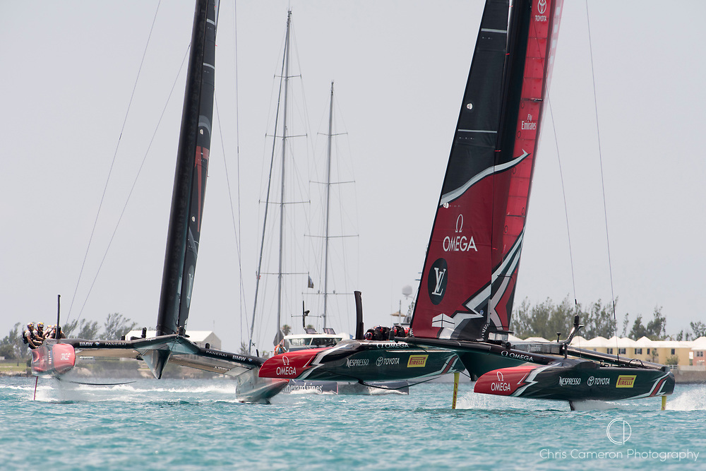 The Great Sound, Bermuda, 17th June Emirates Team New Zealand and Oracle Team USA come together in the pre start of race two of the America's Cup.