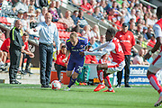 Charlton Athletic midfielder Chris Solly (20) takes on Fleetwood Town striker Devante Cole (44) during the EFL Sky Bet League 1 match between Fleetwood Town and Charlton Athletic at the Highbury Stadium, Fleetwood, England on 10 September 2016. Photo by John Marfleet.