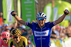 Zdenek Stybar (CZE) Deceuninck-Quick Step celebrates as he crosses the finish line to win at the end of the 2019 E3 Harelbeke Binck Bank Classic 2019 running 203.9km from Harelbeke to Harelbeke, Belgium. 29th March 2019.<br /> Picture: Eoin Clarke | Cyclefile<br /> <br /> All photos usage must carry mandatory copyright credit (© Cyclefile | Eoin Clarke)