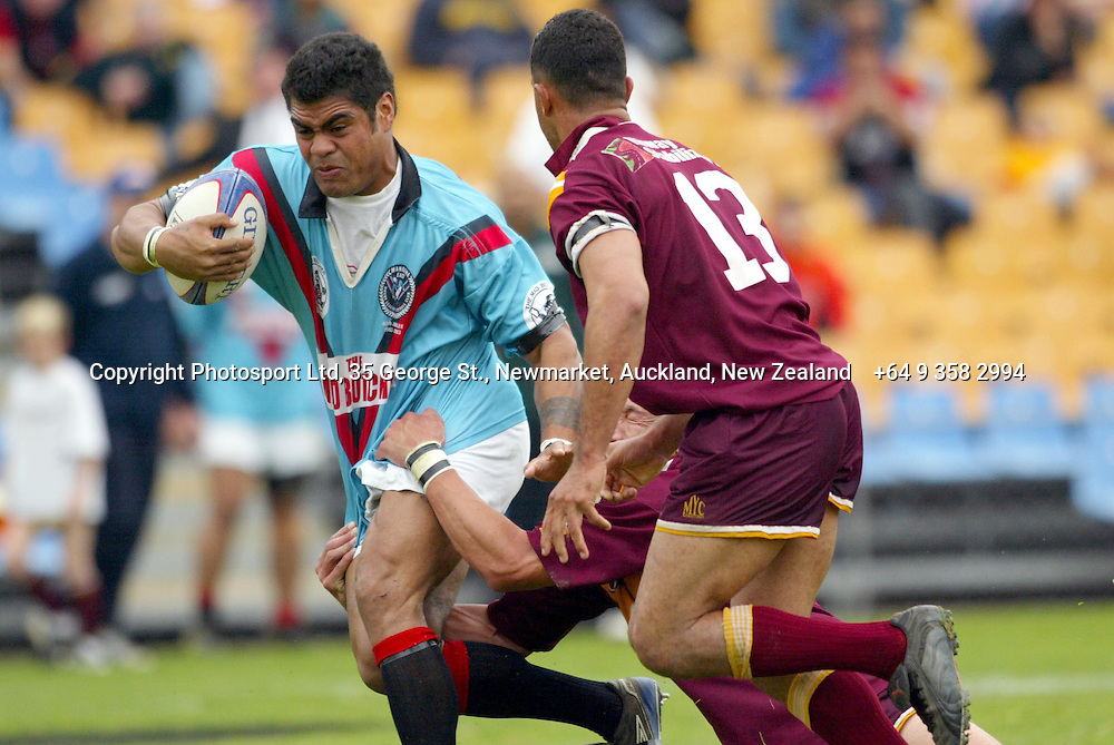 14 September 2003, Ericsson Stadium, Auckland, New Zealand.  Fox Memorial Cup Trophy final, Hibiscus Coast Raiders vs Mangere East Hawks.<br />