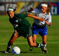 5 JUNE 2010 -- FENTON, Mo. -- Liberty High School's Kaysie Clark (7) battles Pattonville High School's Aubrey Boulicault (14) for control of the ball during the Class 3 championship game at the MSHSAA girls' soccer tournament Saturday, June 5, 2010 at the Anheuser-Busch Center in Fenton, Mo. Photo © copyright 2010 by Sid Hastings.