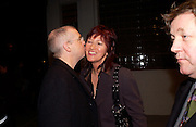 Neil Tennant and Janet Street-Porter, Yoko Ono, Odyssey of a cockroach, ICA East, Wharf Rd. 4 February 2004. © Copyright Photograph by Dafydd Jones 66 Stockwell Park Rd. London SW9 0DA Tel 020 7733 0108 www.dafjones.com
