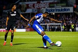 Victor Adeboyejo of Bristol Rovers shoots - Rogan/JMP - 27/08/2019 - FOOTBALL - Memorial Stadium - Bristol, England - Bristol Rovers v Brighton & Hove Albion - Carabao Cup.