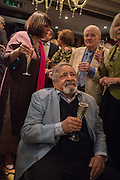 LADY NAIPAUL; V.S.NAIPAUL; VISCOUNT NORWICH; MARY PHILLIPPS, David Campbell Publisher of Everyman's Library and Champagen Bollinger celebrate the completion of the Everyman Wodehouse in 99 volumes and the 2015 Bollinger Everyman Wodehouse prize shortlist. The Archive Room, The Goring Hotel. London. 20 April 2015.
