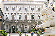 The building housing the Carabinieri Command or Police Headquarters in the Piazza Monteoliveto Naples, southern Italy.
