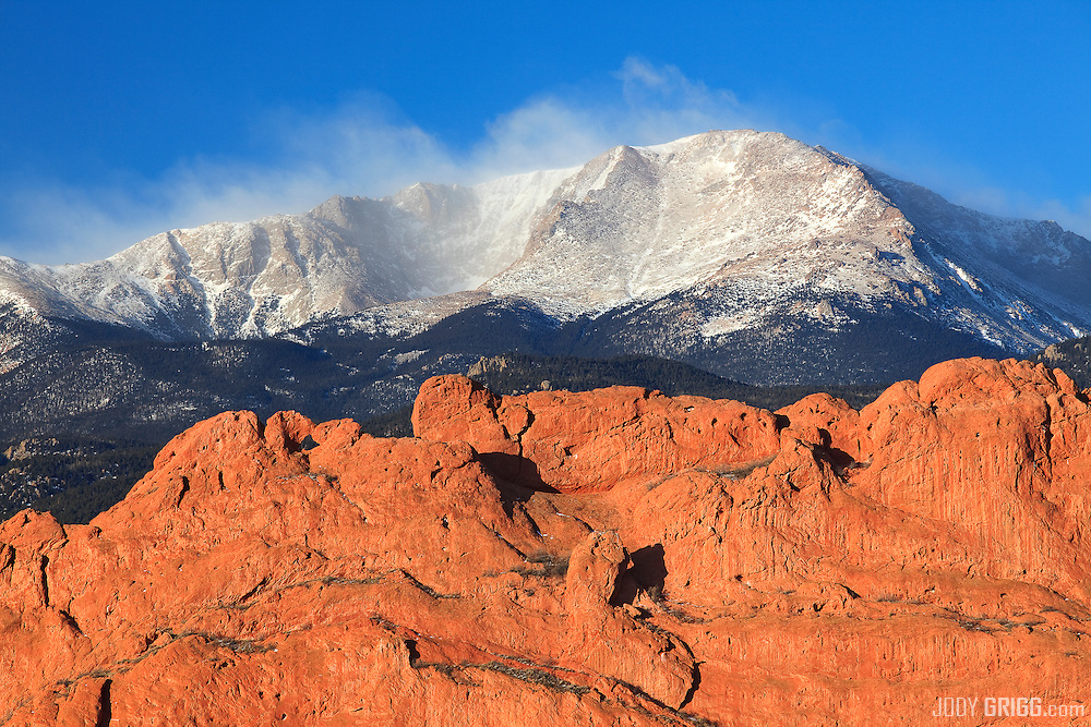 Garden of the Gods provides great contrast to that of Pikes Peak 14,110ft, Colorado.