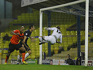 Picture by David Horn/Focus Images Ltd +44 7545 970036<br /> 13/09/2013<br /> Chris Iwelumo of Scunthorpe United scores the opening goal during the Sky Bet League 2 match at Roots Hall, Southend.