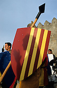 SPAIN / Castile and Leon / Avila. Medieval recreations in Spain.  Soldiers waiting for combat. The city celebrates every September a Medieval festival.....