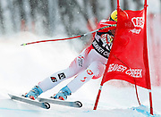 Hermann Maier of Austria crashes into a gate as he skis to twelfth place in the men's World Cup downhill ski race in Beaver Creek, Colorado December 5, 2008. REUTERS/Rick Wilking (UNITED STATES)