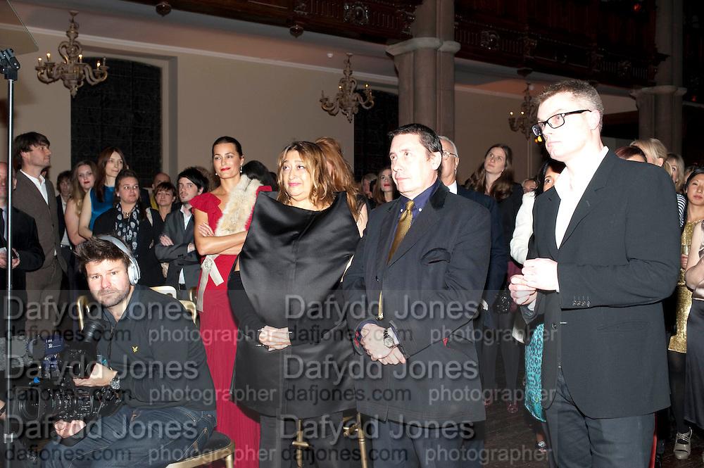 ZAHA HADID; JOOLS HOLLAND, Harpers Bazaar Women of the Year Awards. North Audley St. London. 1 November 2010. -DO NOT ARCHIVE-© Copyright Photograph by Dafydd Jones. 248 Clapham Rd. London SW9 0PZ. Tel 0207 820 0771. www.dafjones.com.