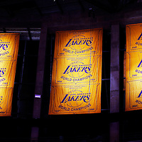 06 October 2013: Los Angeles Lakers Champions banners are seen in the drafters during the Denver Nuggets 97-88 victory over the Los Angeles Lakers at the Staples Center, Los Angeles, California, USA.
