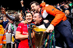 Alex Goode of Saracens celebrates with fans after winning the Heineken Champions Cup after beating Leinster Rugby in the Final - Mandatory by-line: Robbie Stephenson/JMP - 11/05/2019 - RUGBY - St James' Park - Newcastle, England - Leinster Rugby v Saracens - Heineken Champions Cup Final