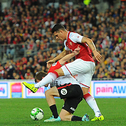 Granit Xhaka of Arsenal and Melling of Western Sydney Wanderers battle for the ball during Western Sydney Wanderers vs Arsenal, Preseason Friendly , 15.07.17 (c) Harriet Lander | SportPix.org.uk