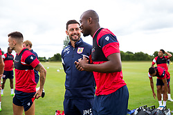 Assistant Head Coach Jamie McCallister chats to Arnold Garita as Bristol City return for pre-season training ahead of the 2017/18 Sky Bet Championship Season - Rogan/JMP - 30/06/2017 - Failand Training Ground - Bristol, England - Bristol City Training.