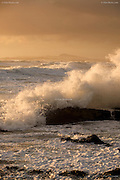 Available unlimited A1, A2, A3 & A4 prints<br /> <br /> One of a short series of images taken on a stormy winter evening. The storm was burning out but huge waves continued to batter the west coast of Anglesey. As the sun got lower in the sky, it back-lit the wave crests and spray from crashing waves. I huddled in the rocks at wave level to prevent the strong winds from blowing my camera lens away from the shot. The salt covered everything but it was a stunning and elemental opportunity.