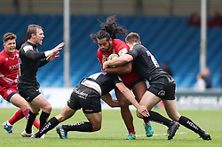 Thretton Palamo of Bristol United is tackled by Tom Hendrickson and Harry Strong of Exeter Braves  - Mandatory by-line: Gary Day/JMP - 09/09/2017 - RUGBY - Sandy Park Stadium - Exeter, England - Exeter Braves v Bristol United - Aviva A League