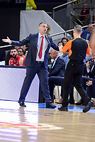 Crvena Zvezda Mts Belgrade's coach Dejan Radonjic talking with the referee during Turkish Airlines Euroleague match between Real Madrid and Crvena Zvezda Mts Belgrade at Wizink Center in Madrid, Spain. March 10, 2017. (ALTERPHOTOS/BorjaB.Hojas)