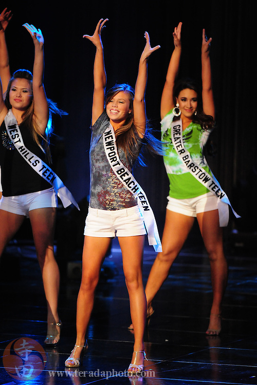 "November 22, 2009; Rancho Mirage, CA, USA; Miss West Hills Teen USA Ashlei Chavanakij (left), Miss Newport Beach Teen USA Katie Westerhout (center), and Miss Greater Barstow Teen USA Alyx Rae Burnett (right) during the Miss California Teen USA 2010 Pageant at ""The Show"" at the Agua Caliente Resort & Spa. Mandatory Credit: Kyle Terada-Terada Photo"