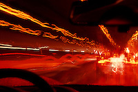 Looking through the windshield on te commute home at night.