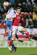Lee Frecklington (Rotherham United) wins a header in midfield against Brighton & Hove Albion central midfielder Beram Kayal (7) during the EFL Sky Bet Championship match between Rotherham United and Brighton and Hove Albion at the AESSEAL New York Stadium, Rotherham, England on 7 March 2017. Photo by Mark P Doherty.