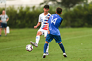 Team USA defender Devan Tanton (2) passes the ball during a CONCACAF boys under-15 championship soccer game, Monday, Aug. 5, 2019, in Bradenton, Fla. The USA defeated Guatemala  2-0 (Kim Hukari/Image of Sport)