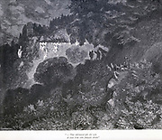 """That embowered pile did seem a cloud from some fantastic dream."""" Illustration from 'The Sleeping Beauty' by Paul Gustave Doré (1832-1883). The castle lay asleep for 100 years. From the book Fairy realm. A collection of the favourite old tales. Illustrated by the pencil of Gustave Dore by Tom Hood, (1835-1874); Gustave Doré, (1832-1883) Published in London by Ward, Lock and Tyler in 1866"""