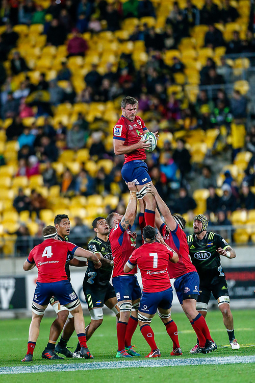 Reds line out during the Super rugby union game (Round 14) played between Hurricanes v Reds, on 18 May 2018, at Westpac Stadium, Wellington, New  Zealand.    Hurricanes won 38-34.