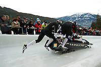 The American team of John Napier, Jamie Moriarty, Jesse Beckom and Cory Butner compete in the Mens' four-person bobsleigh World Cup competition held at the Whistler Sliding Centre on Feb 7, 2009