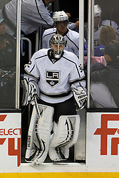 Dec 23, 2011; San Jose, CA, USA; Los Angeles Kings goalie Jonathan Quick (32) enters the ice before the game against the San Jose Sharks at HP Pavilion. San Jose defeated Los Angeles 2-1 in shootouts. Mandatory Credit: Jason O. Watson-US PRESSWIRE