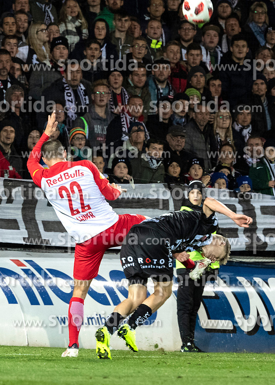 28.10.2018, TGW Arena, Pasching, AUT, 1. FBL, LASK Linz vs FC Red Bull Salzburg, Grunddurchgang, 12. Runde, im Bild v.l. Stefan Lainer (FC Red Bull Salzburg), Maximilian Ullmann (LASK) // during the Austrian Football Bundesliga 12th round match between LASK Linz and FC Red Bull Salzburg at the TGW Arena in Pasching, Austria on 2018/10/28. EXPA Pictures © 2018, PhotoCredit: EXPA/ Reinhard Eisenbauer