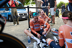 Megan Guarnier (USA) recovers after Boels Dolmans third place finish at Giro Rosa 2018 - Stage 1, a 15.5 km team time trial in Verbania, Italy on July 6, 2018. Photo by Sean Robinson/velofocus.com