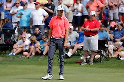 June 22, 2018 - Cromwell, CT, U.S. - CROMWELL, CT - JUNE 22: Jordan Spieth of the United States reads his line on 17 during the Second Round of the Travelers Championship on June 22, 2018, at TPC River Highlands in Cromwell, Connecticut. (Photo by Fred Kfoury III/Icon Sportswire) (Credit Image: © Fred Kfoury Iii/Icon SMI via ZUMA Press)