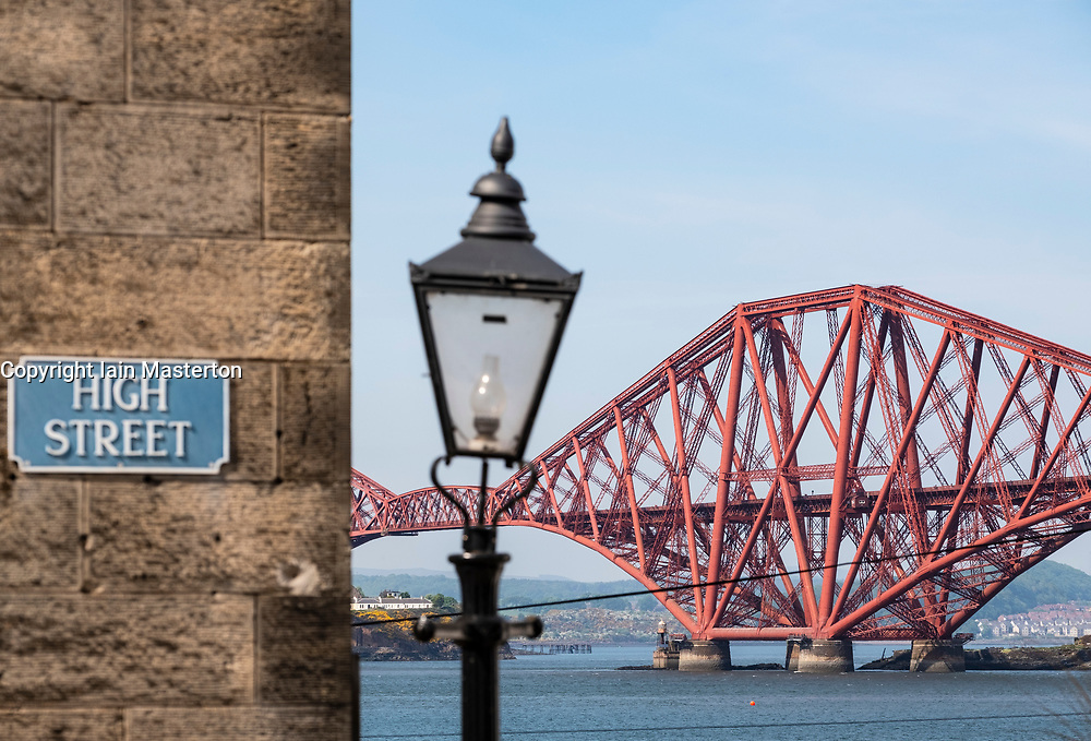 View of the historic Forth Bridge (Forth Railway Bridge) crossing the Firth of Forth between North and South Queensferry,UK