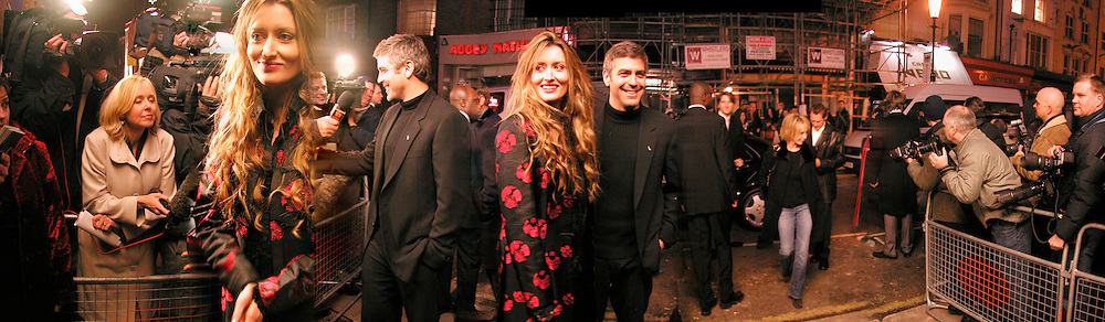 """George Clooney and Natascha McElhone,  ( Trudie Styler arriving)  on the Portobello Rd. before the  Harpers and Queen and Twentieth Century Fox  charity screening in aid of 'Facing the World"""" ( plastic surgery for children in the world's poorest countries)  and supper for Solaris. Electric Cinema, Notting Hill.  © Copyright Photograph by Dafydd Jones 66 Stockwell Park Rd. London SW9 0DA Tel 020 7733 0108 www.dafjones.com"""