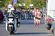 Chris Thompson of Great Britain leads at six miles during The Great South Run in Southsea, Portsmouth, United Kingdom on 23 October 2016. Photo by Jon Bromley.