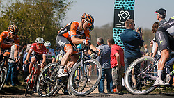 LIGTHART Pim of Roompot - Nederlandse Loterij in the peloton during the 115th Paris-Roubaix (1.UWT) from Compiègne to Roubaix (257 km) at cobblestones sector 25 from Briastre to Solesmes, France, 9 April 2017. Photo by Pim Nijland / PelotonPhotos.com | All photos usage must carry mandatory copyright credit (Peloton Photos | Pim Nijland)