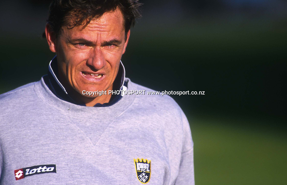 Wynton Rufer during a Kingz soccer training, 23 August 2000. Photo: Sandra Teddy/PHOTOSPORT