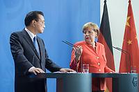 09 JUL 2018, BERLIN/GERMANY:<br /> Li Keqiang (L), Ministerpraesident der VR China, und Angela Merkel (R), CDU, Bundeskanzlerin, waehrend einer Pressekonferenz zu den Ergebnissen der Deutsch-Chinesische Regierungskonsultationen, Bundeskanzleramt<br /> IMAGE: 20180709-02-050