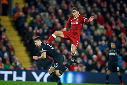 LIVERPOOL, ENGLAND - Boxing Day, Tuesday, December 26, 2017: Liverpool's Roberto Firmino and Swansea City's Federico Fernandez during the FA Premier League match between Liverpool and Swansea City at Anfield. (Pic by David Rawcliffe/Propaganda)