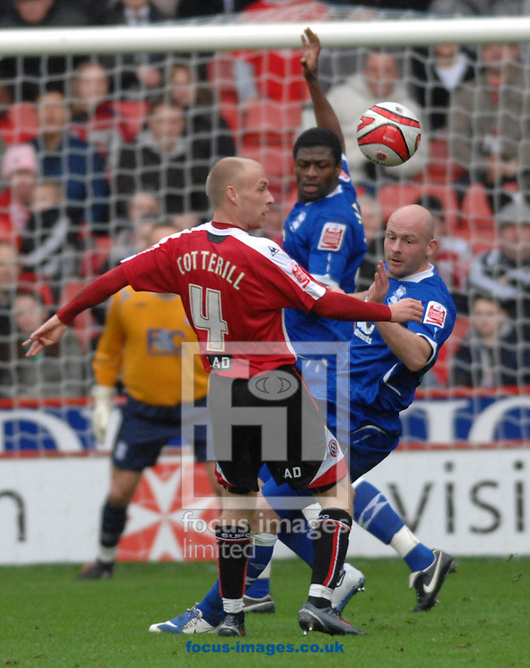 Sheffield - Sunday, March 1st, 2009:  Sheffield United's David Cotterill goes for the ball against and Birmingham City'during the Coca Cola Championship match at Bramall Lane, Sheffield. (Pic by John Rushworth/Focus Images)