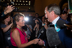 © Licensed to London News Pictures. 27/05/2019. London, UK. British Brexit party leader Nigel Farage speaks to the media at the O2 Guildhall venue before being re-elected at a Member of the European Parliament. The Brexit Party is expected to do very well in the elections. Photo credit: Ray Tang/LNP