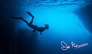 Silhouette of a swimmer snorkeling near a cave on Santiago island in the Galapagos.