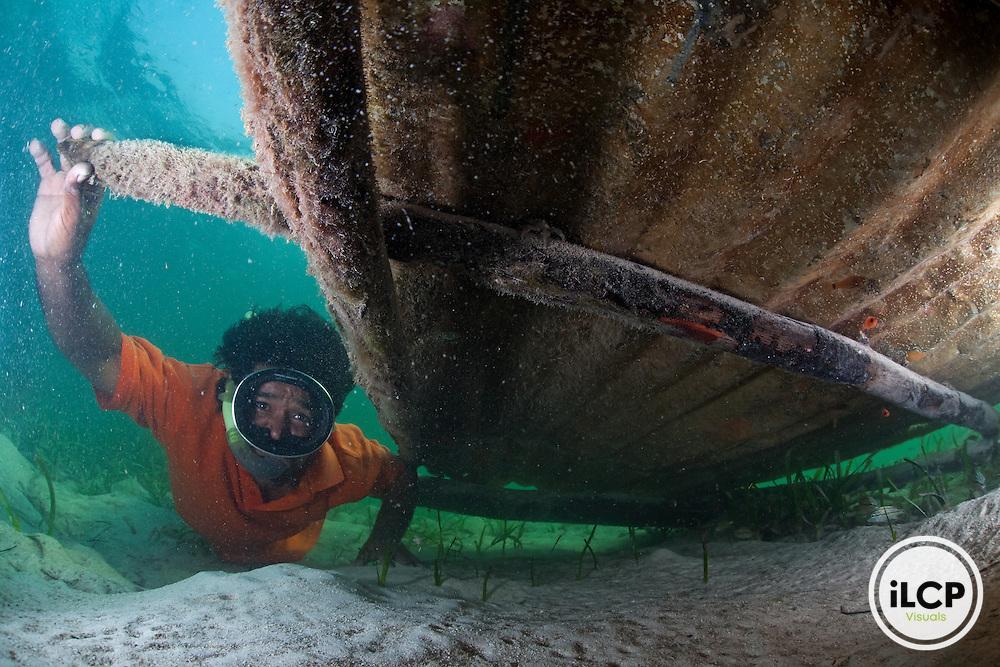 Diver, freediving, inspecting newly established lobster traps/shelters called casita cubana (cuban houses) in Turtle Grass (Thalassia testudinum) habitat, Caribbean Spiny Lobster (Panulirus argus) fishery, Northeast Bight, Guanaja Island, Bay Islands, Honduras, April