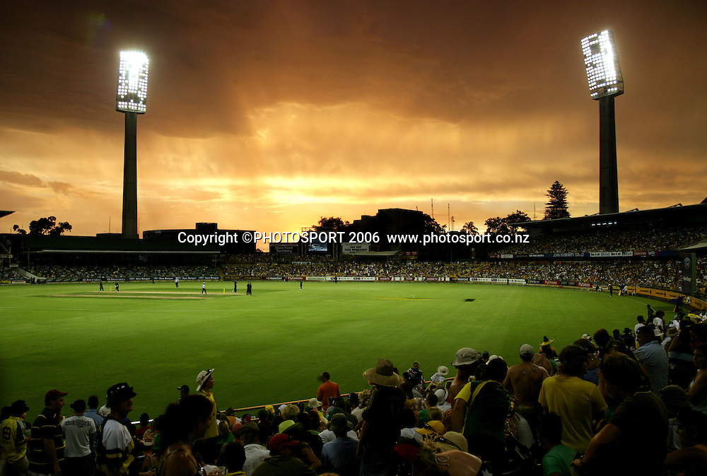 The Western Australia Cricket Association (WACA) ground during the one day international cricket match between New Zealand and Australia at the WACA ground in Perth on Sunday 28 January, 2007. Australia made 343/5 after winning the toss and batting first and in reply New Zealand scored 335/5. Australia won by 8 runs. Photo: Andrew Cornaga/PHOTOSPORT<br /><br /><br /><br />280107