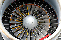 Close up of powerful aircraft engine turbine