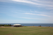 Sports Ground give a sparse and minimalist landscape on the Coogee to Bondi beach Coastal walk , Sydney