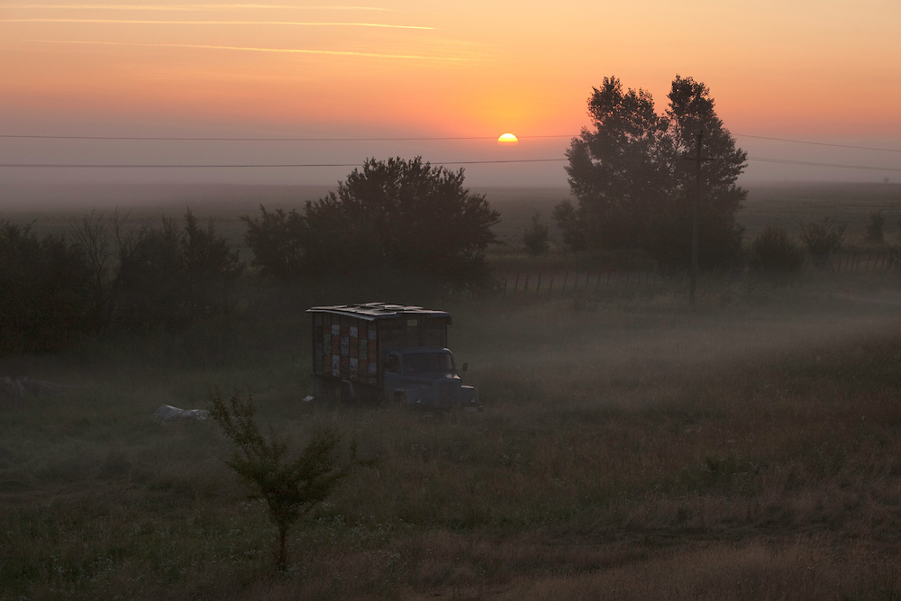 Truck parked on a field, Gornje Podunavlje Special Nature Reserve, Serbia
