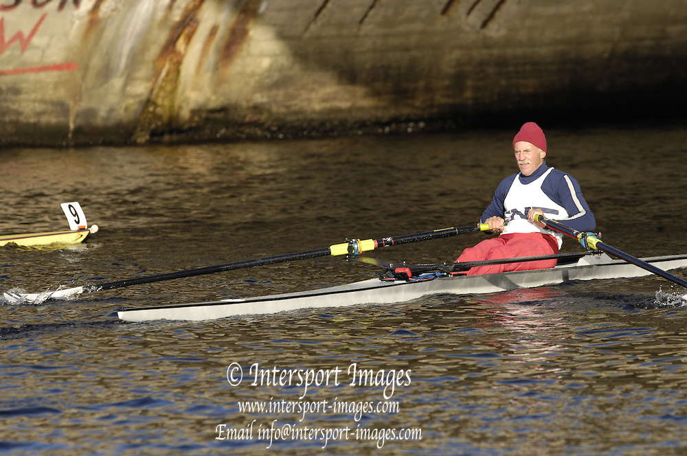 Boston, Massachusetts, Grand Masters men's Single M1X, I passing under the River Street Bridge,competing in the Forty second Head of the Charles, 21/10/2006.  Photo  Peter Spurrier/Intersport Images...[Mandatory Credit, Peter Spurier/ Intersport Images] Rowing Course; Charles River. Boston. USA
