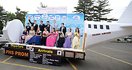 """A float featuring Falcon Airlines and Philadelphia International Airport arrives with guests during the senior prom parade Saturday, May 20, 2017 at Pennsbury High School East in Fairless Hills, Pennsylvania. Pennsbury's senior prom is one of few still held at the school itself and this year featured the theme """"Yo Philly"""" highlighting various features of Philadelphia. (Photo by William Thomas Cain)"""